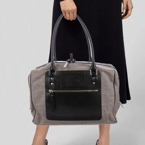 Hogan Leather-Trimmed Canvas Shoulder Bag